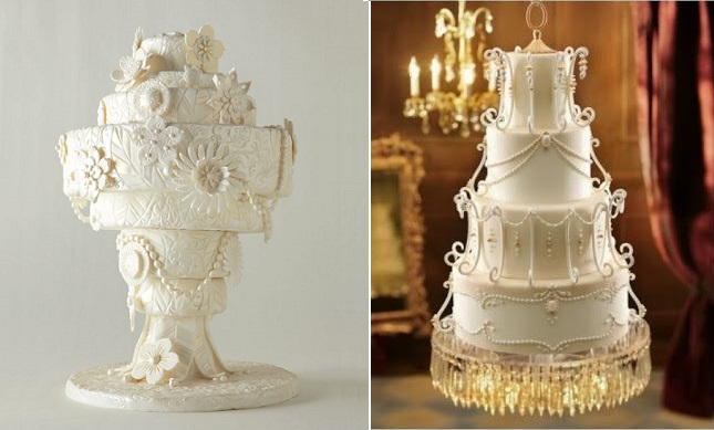 chandelier wedding cake by Collette's Cakes left, image right via Pinterest