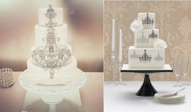 chandelier wedding cakes by The Cake Whisperer left and Zoe Clark Cakes right