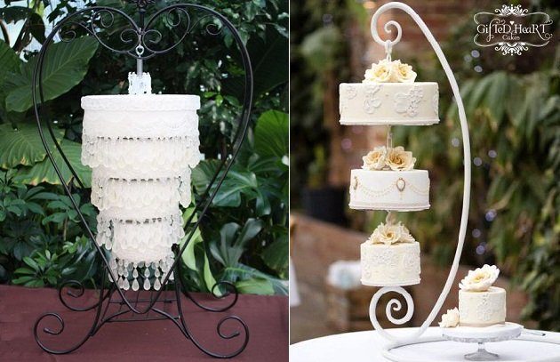 chandelier wedding cakes suspended wedding cakes by  Gifted Heart Cakes right, (Naomi Kenton Photography), image left via Craftsy
