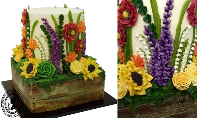 cottage garden cake by the Queen of Hearts Couture Cakes