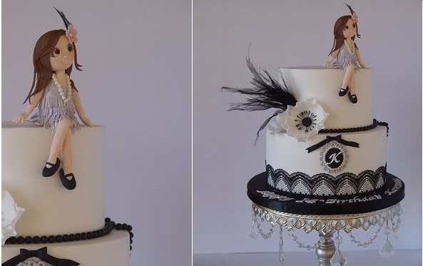 flapper girl cake topper Gatsby birthday cake by Magical Cakes NZ