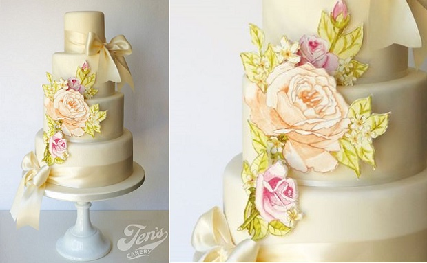 floral applique wedding cake by Jen's Cakery