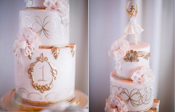 gilded gold and pink ballerina cake by Sweet & Saucy, Troy Grover Photography