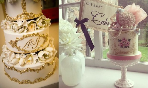 gilded wedding cake by Ron Ben Israel left, handpainted gold frame antique style cake by Nadia & Co.