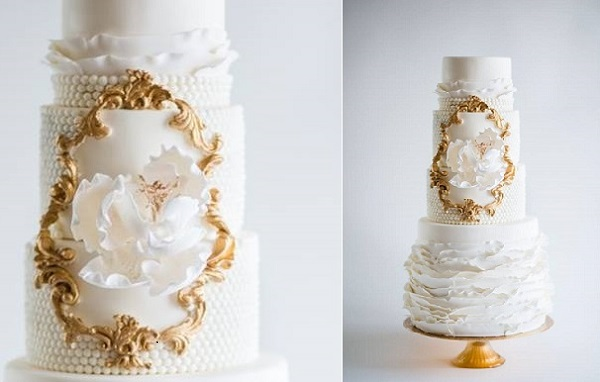 gold framed wedding cake design by La Fabrik A Gateaux