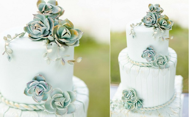 grey green succulent wedding cake by Cakes by Krishanthi, Eddie Judd Photography via Style Me Pretty