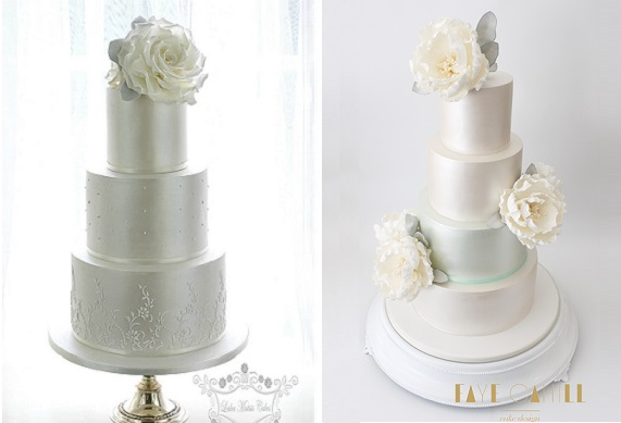 gumpaste dusty miller silver foliage wedding cake with ivory by Leslea Matsis Cakes left, by Faye Cahill Cakes right