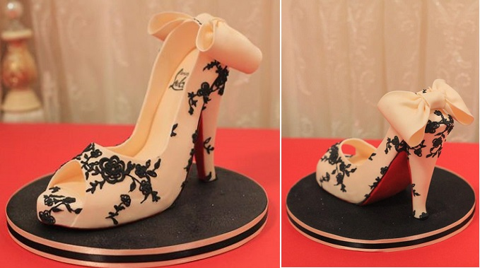 gumpaste high heels lace stilettos by Elegateau