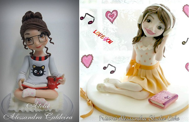 gumpaste models  cake toppers by Alessandra Caldeira left, Alessandra Frisoni right