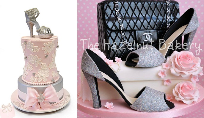 gumpaste stilletto tutorial glitter heels from The Hazelnut Bakery right, Sweet 16 shoe cake by The Pink Cake Box left