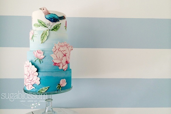 handpainted floral applique and bird wedding cake by Sugablossom Cakes