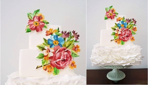 handpainted floral appliques ruffle wedding cake by Natasha Collins of Nevie Pie Cakes