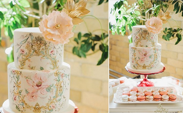 handpainted gold frame wedding cake baroque style by Nadia & Co., image by Mango Studios via Wedding Chicks