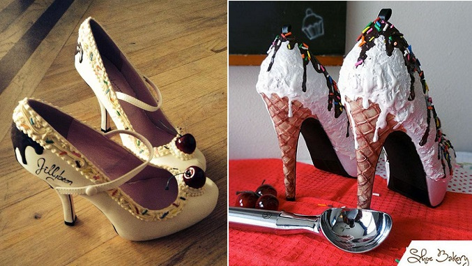 icecream shoes waffle cone heels by The Shoe Bakery right, sugar shoes by Jillybean left