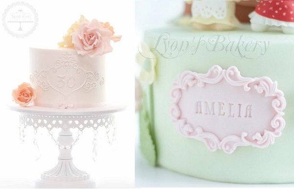 lace frame cake design by Sweet Love Cake Couture left, Lyon's Bakery right