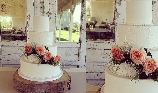 lace frame wedding cake by Sweet Face Cakes