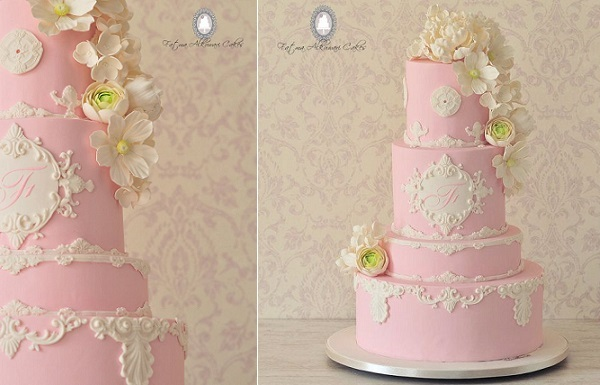 lace frame wedding cake pink by Fatma Alkuwari Cakes