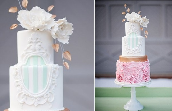 lace frame wedding cake with pastel stripes by Sweet Fix Cakes, Jessica Maida Photography