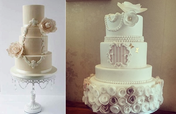 lace frame wedding cakes by Suzanne Esper Cakes left, Divine Bakes Howes right