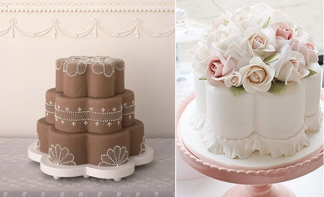 petal shaped cakes from Martha Stewart Weddings left and via Pinterest right