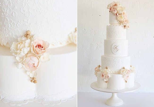 petal shaped wedding cake tier by Sweet Bloom, Australia (image Leanne Ambrogio, Sweet Style)