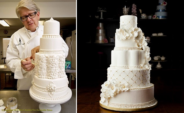 petal shaped wedding cakes by Couture Cakes, Huntsville, AL left and by Melissa L'Abbe right, Rowell Photography