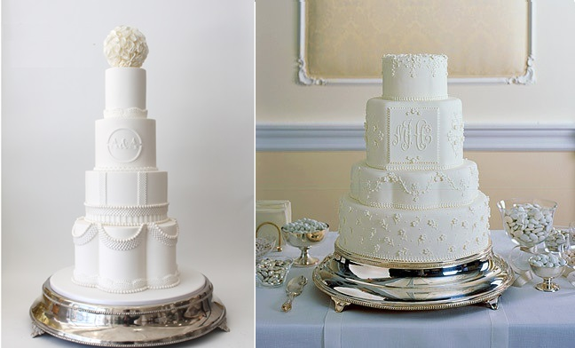 petal shaped wedding cakes by Faye Cahill left and via Martha Stewart Weddings right