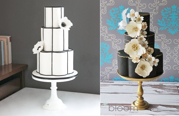 petal shaped wedding cakes by Pasteles Alma left and by Boom Cake Design right