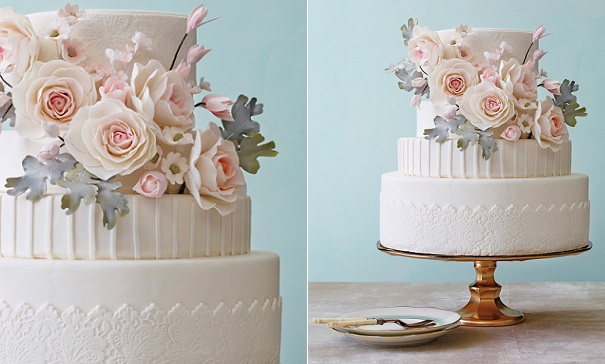 pink and grey foliage wedding cake by Nine Cakes, Philip Ficks Photography via The Knot