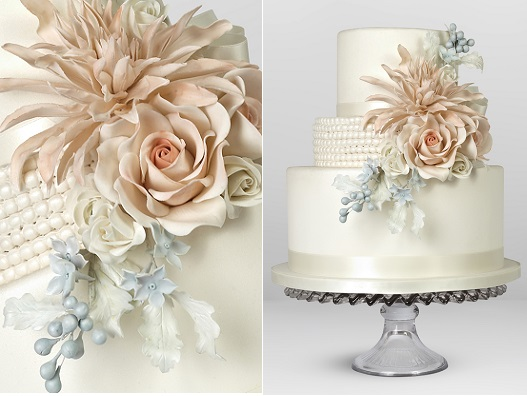 pink dahlia and grey foliage wedding cake by Cakes by Krishanthi