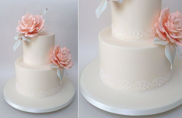 piped lace wedding cake with grey foliage and pink roses by Bellissimo Cakes UK