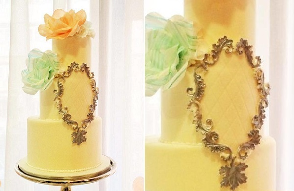 silver frame wedding cake by Punk Rock Cakes