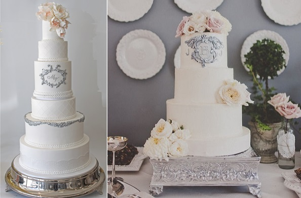 silver framed wedding cake designs by Faye Cahill left, Michelle Coulon Dessertier via Style Me Pretty right