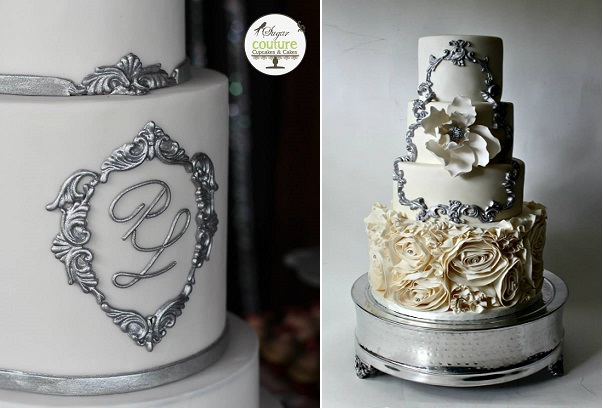 silver framed wedding cake designs by Sugar Couture Cupcakes & Cakes left, La Fabrik A Gateaux right