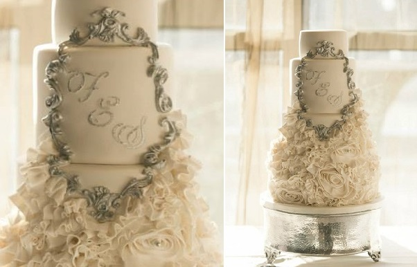 silver framed wedding cake with ruffles by La Fabrik A Gateaux, Arcouette Photography
