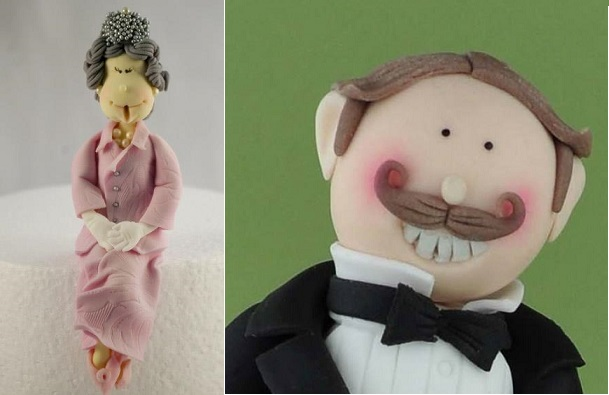 the Queen sugar model cake topper by Eat Cake Party, South Africa left, gentleman cake topper by Sandra Monger Cakes UK right