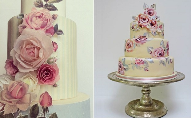 wafer-paper-flowers-and-painted-appliques-by-Hey-There-Cupcake left, handpainted floral applique wedding cake by Nevie Pie Cakes right