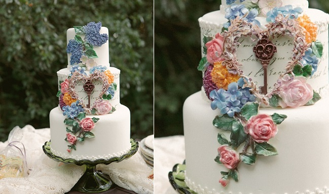 Secret Garden wedding cake by Sweetface Cakes, image by Krystal Mann Photography