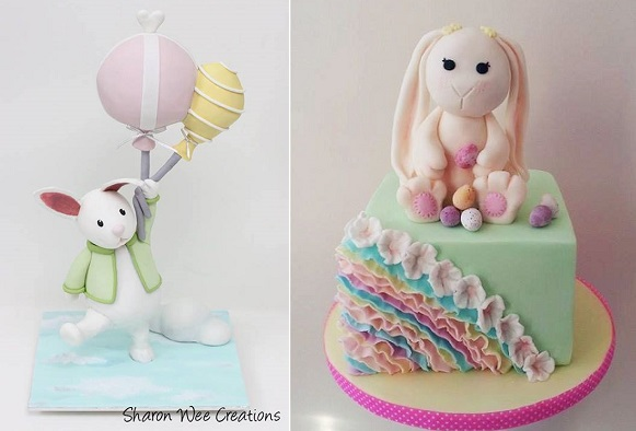 Sharon Wee flyaway bunny left, bunny cake by Time for Tiffin right