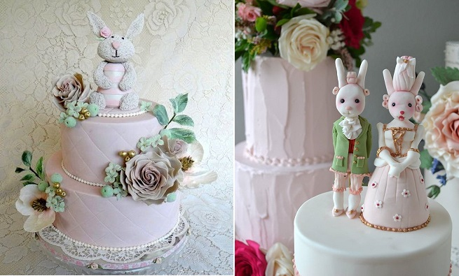 bunny cake vintage children's cake by Firefly India left, rabbit bride and groom cake toppers Marie Antoinette style by Sweet Ruby Cakes