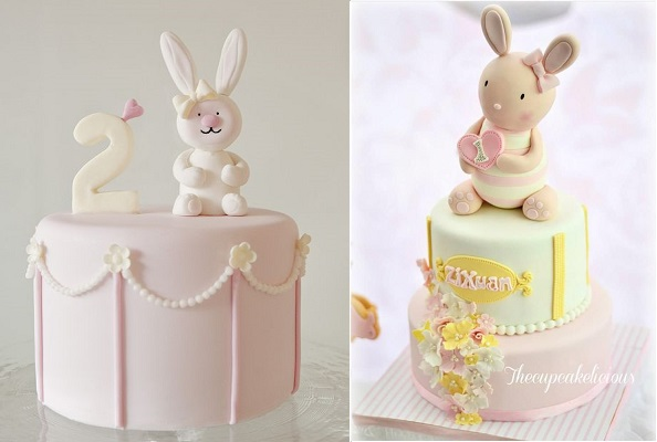 bunny rabbit baby cakes by Sweet Tiers left, The Cupcakelicious right