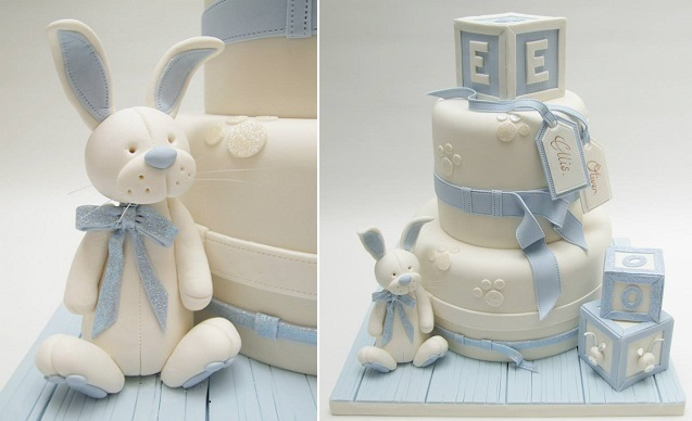 bunny rabbit christening cake by Emma Jayne Cake Design