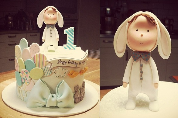 bunny suit first birthday cake by Mutlu Dukan