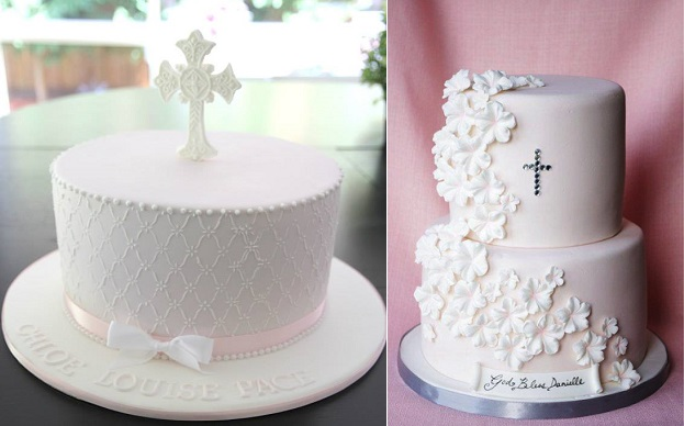 communion cakes and confirmation cakes by Cakes by Sharon left, Sugarbelle Cakes right