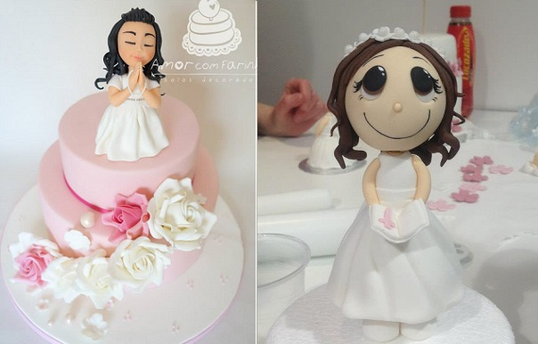 communion cakes for girls from Amor com Farinha left and via Pinterest right