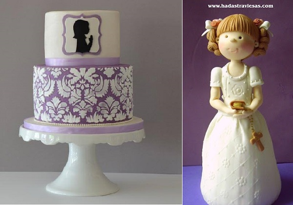 communion cakes girls by Cake & Cupboard left and by Hadastraviesas .com right