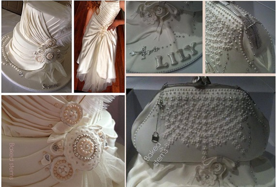communion dress inspired cake and matching bag by Baked Stems, Australia