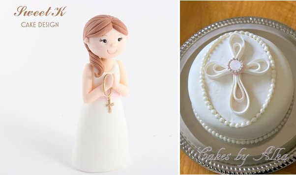 communion girl cake topper by Sweet K Cake Design and quilled cake design communion cake by Cakes by Alka