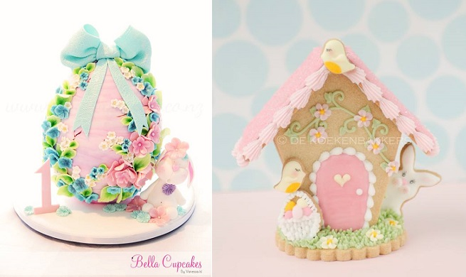 decorated easter egg by Bella Cupcakes left, easter gingerbread house by De Koekenbakkers