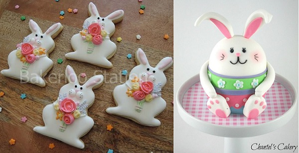 easter bunny cookies by Bakerloo Station left and 3D easter bunny by Chantel's Cakery right